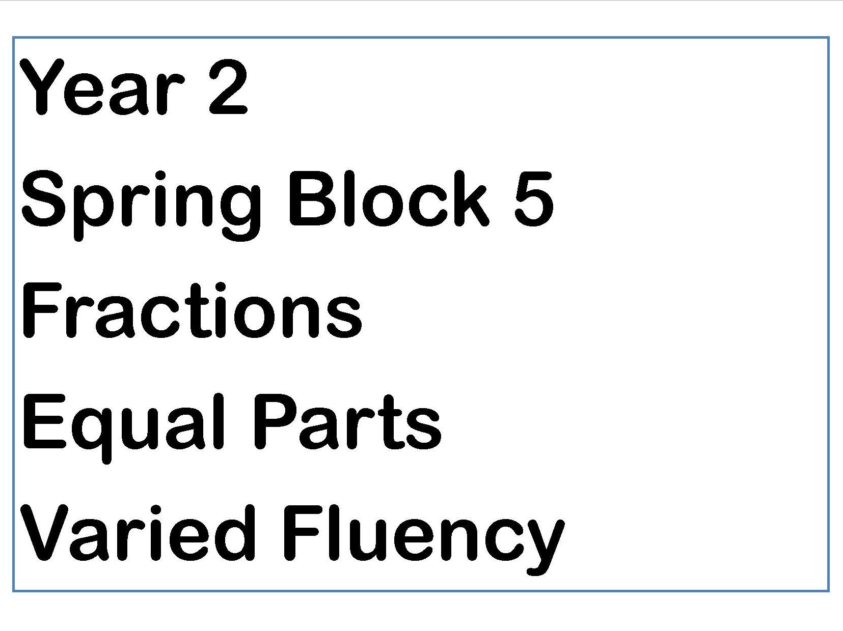 Year 2 Spring Block Fractions Equal Parts Fluency