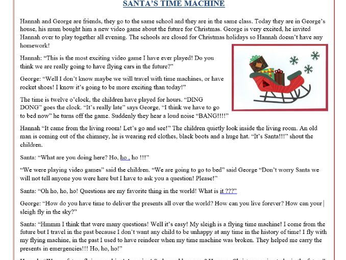 "Christmas Reading Comprehension Text Story ""Santa's"