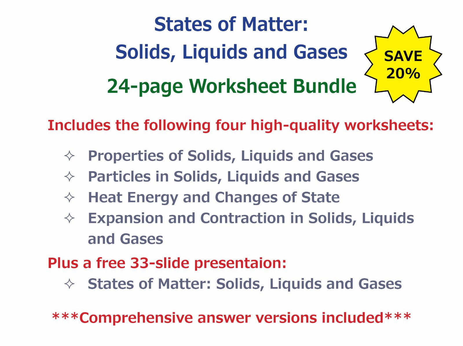 States Of Matter Solids Liquids And Gases Worksheet