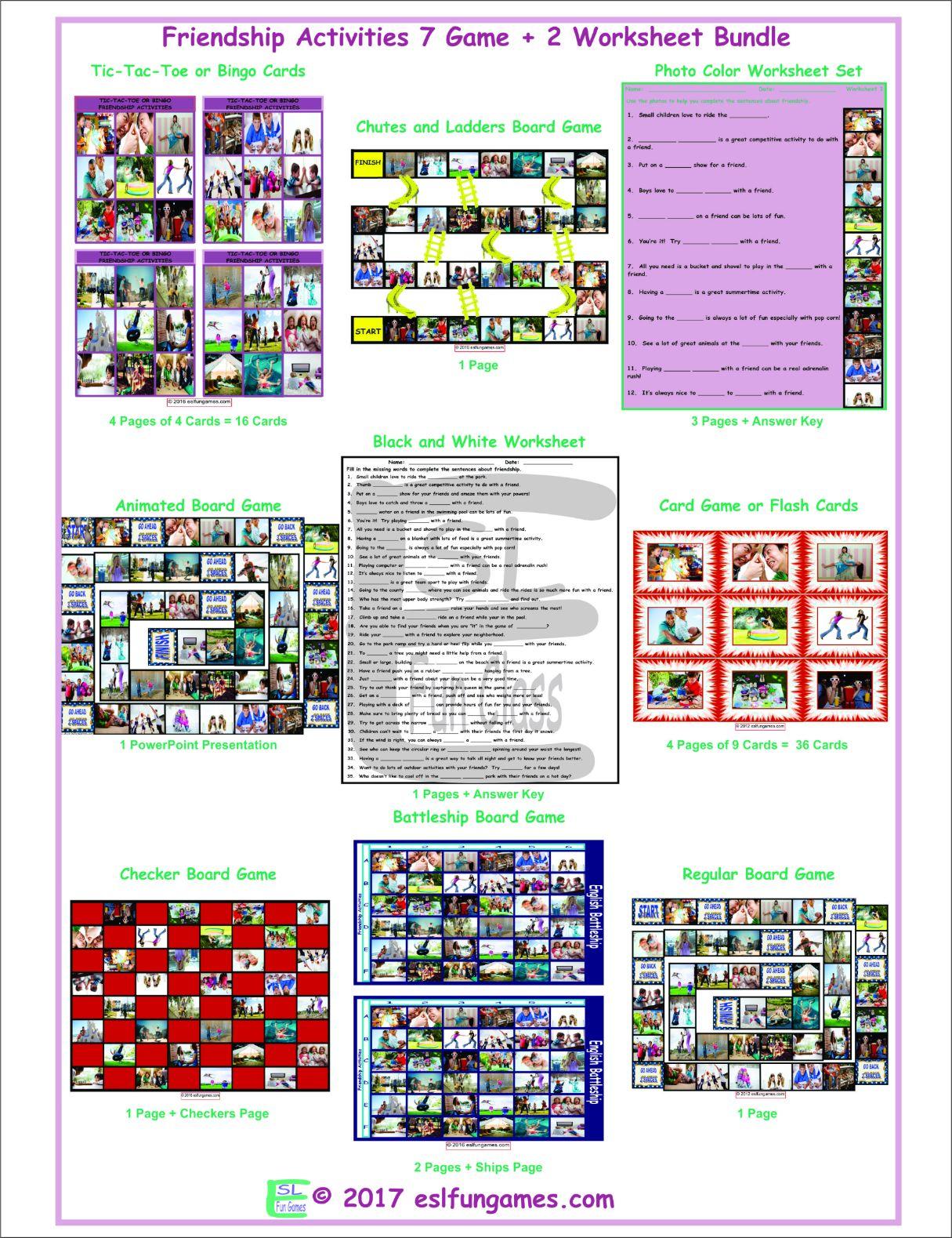 Friendship Activities 7 Game Plus 2 Worksheet Bundle