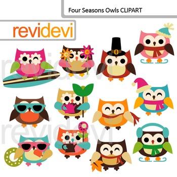 clip art four seasons owls holidays