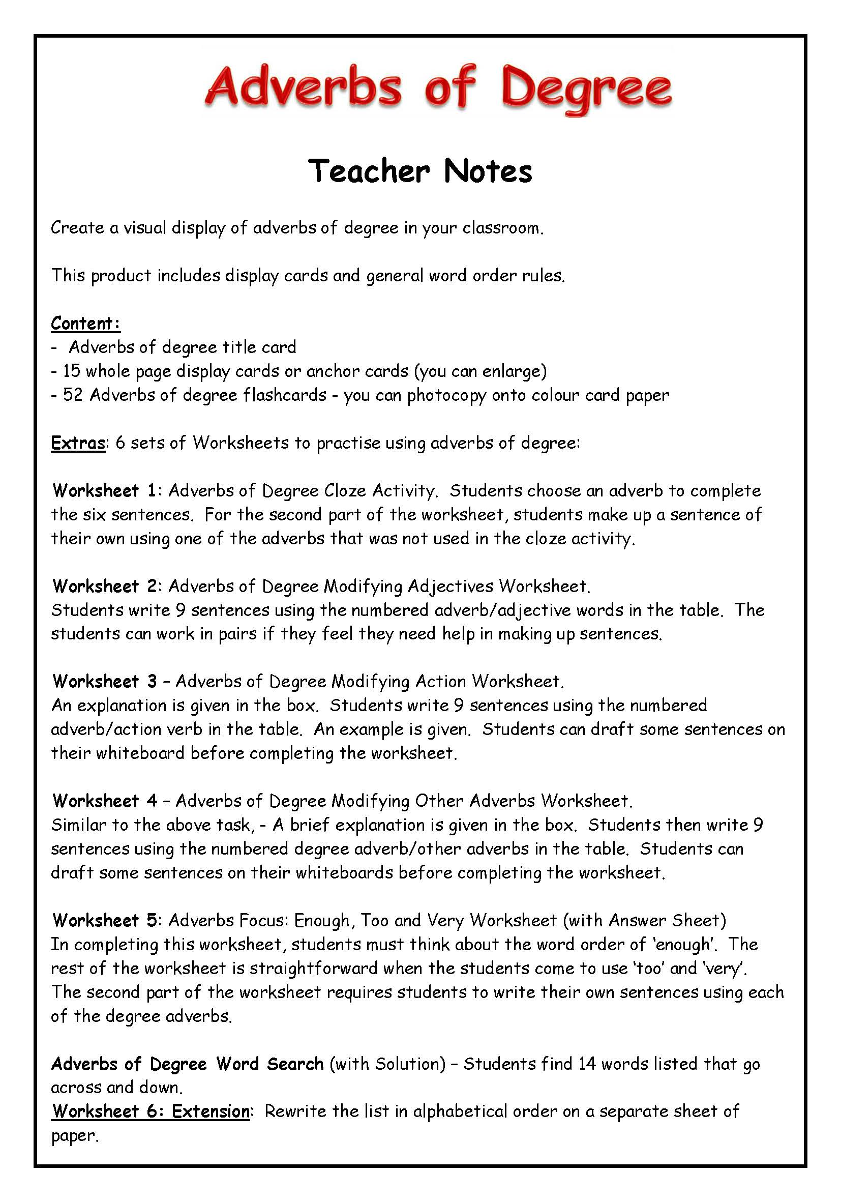 Adverbs Of Degree Worksheets Grade 6