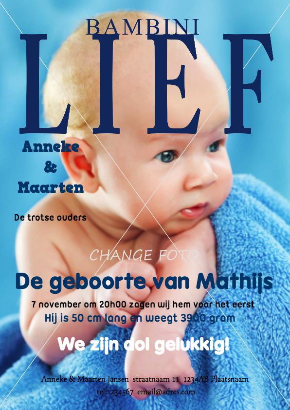 Geboortekaartje Jongen Tijdschrift  Geboortekaartjes