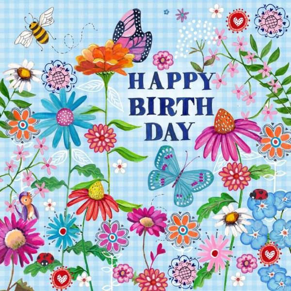 Happy Birthday Vlinder Bloemen Vrolijk