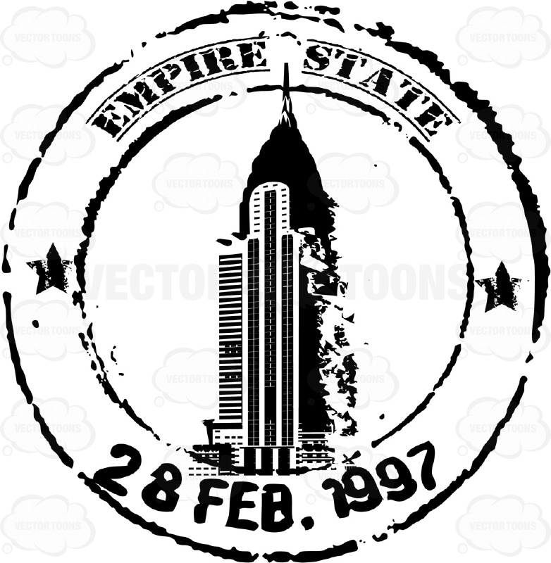 Empire State Building Black And White Travel Rubber Stamp