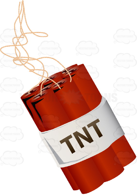 Red Stick of TNT Dynamite With Long Fuse With Clouds and