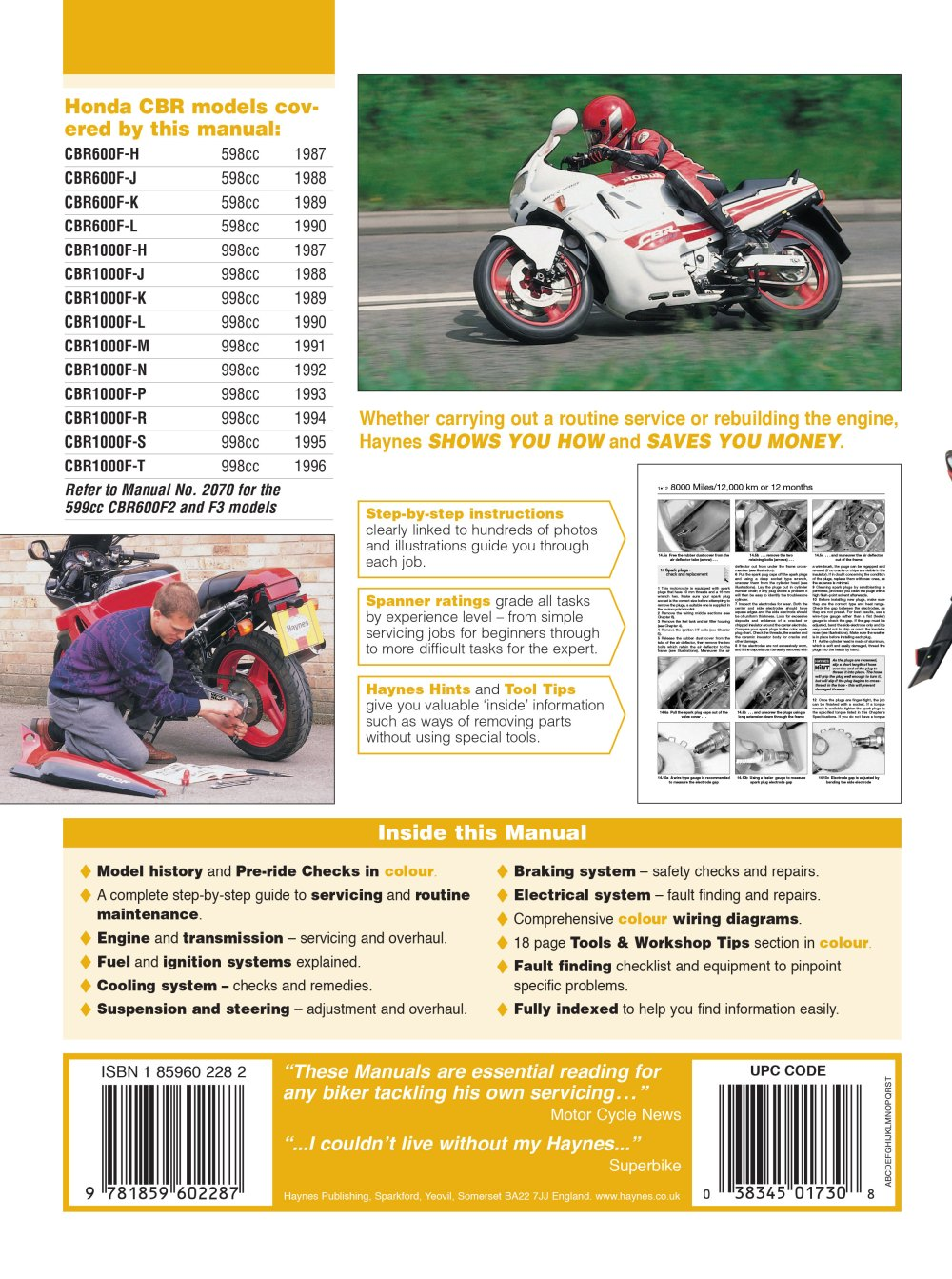 medium resolution of haynes repair manual honda cbr600 f1 cbr1000 f 598cc 998cc 1987 1996 honda cbr600f1 87 96 electrical wiring diagram
