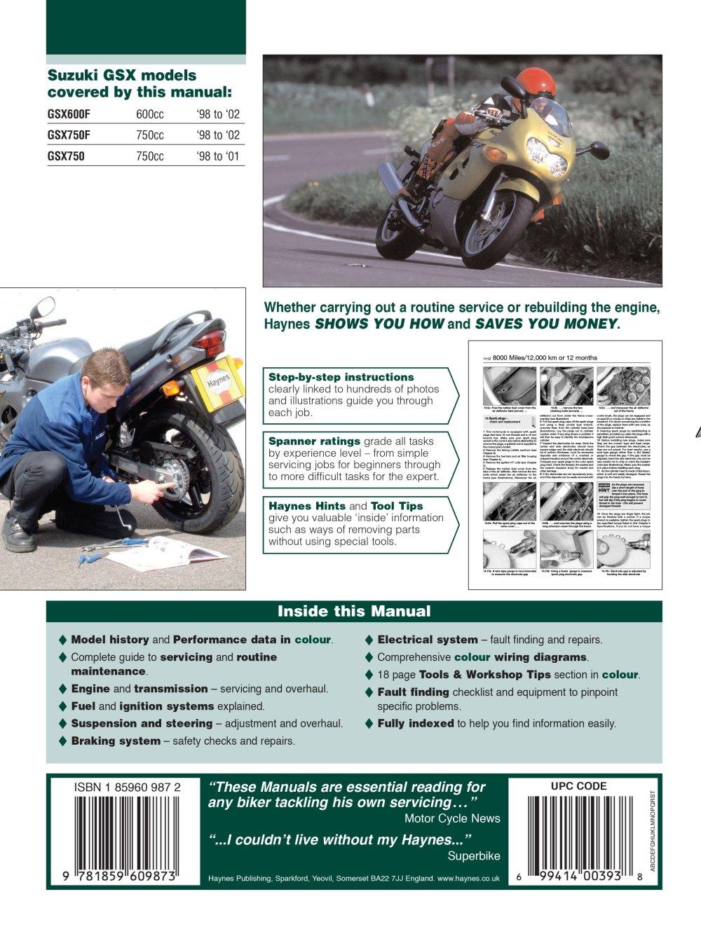 medium resolution of haynes repair manual suzuki gsx600f gsx750f and gsx750 1998 2002 block diagram 2002 gsx600f wiring diagram
