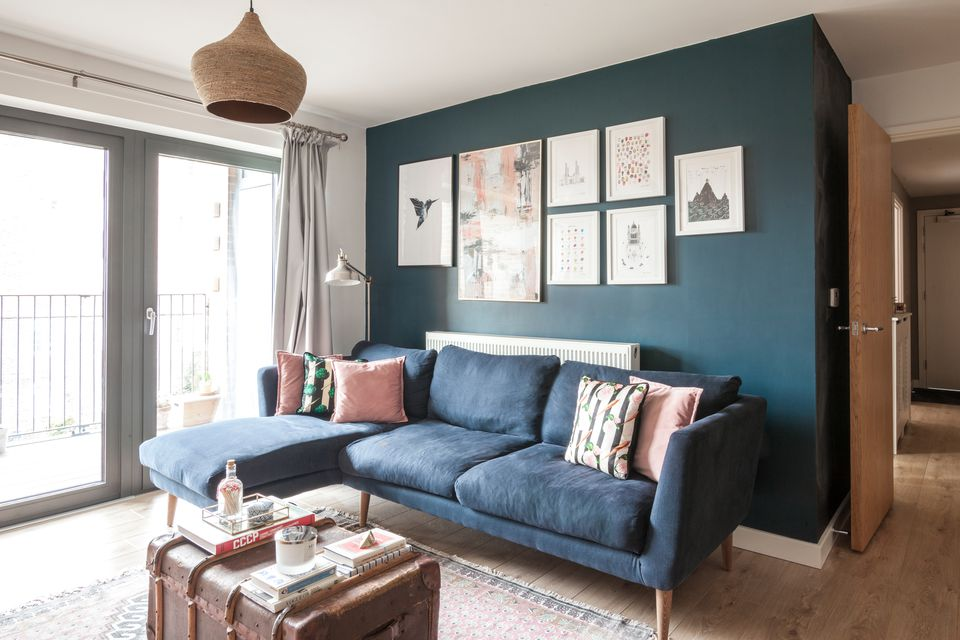 build living room furniture blue sofa before after how this londoner designed a new flat into the homewings and design interior ideas