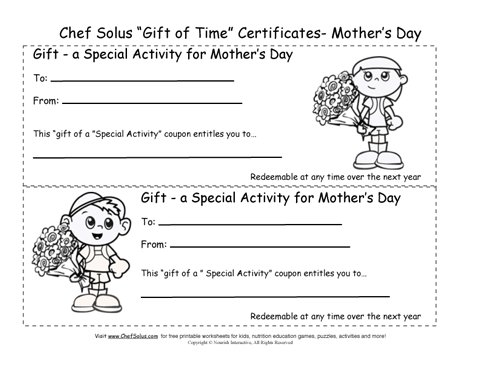Printable Mothers Day Gift Certificates Coloring Sheets