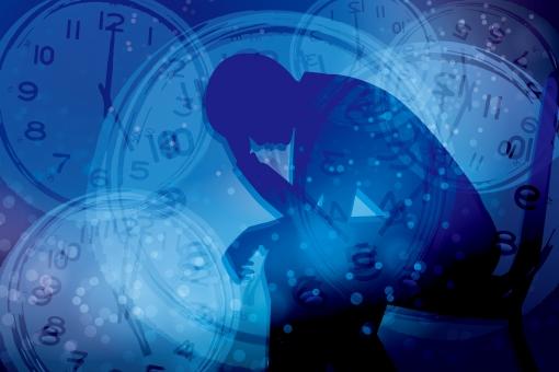 時間 締切 不眠症 締め切り 〆切 パニック イライラ いらいら 焦り 精神的 重圧 心配 不安 フラストレーション 追いつめられる 時計 シルエット 制限時間 タイムリミット 混乱 悩む 悩み いそがしい 忙しい 慌ただしい 寝不足 睡眠不足 繁忙 限界 多忙