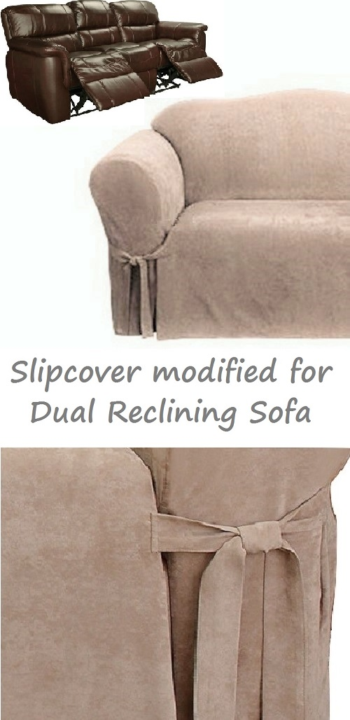 dual reclining sofa slipcover suede taupe surefit recliner couch cover