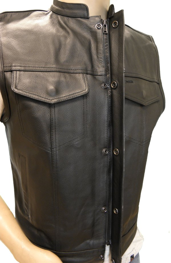 Meancycles Leather Zipper And Snap Closure Motorcycle