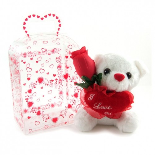 Valentines Teddy Bear Gift Pack With Rose Amp I Love You
