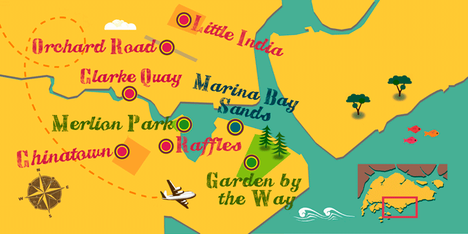 Singapur - Mapa
