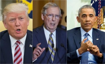 Trump takes aim at McConnell and Obama on Twitter while on vacation