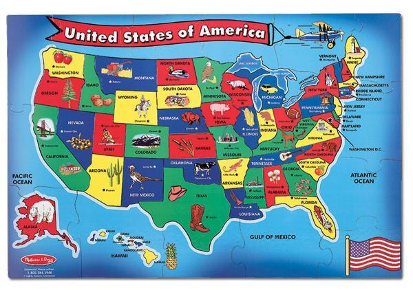 Amazoncom Melissa Doug USA Map 51 pcs Floor Puzzle