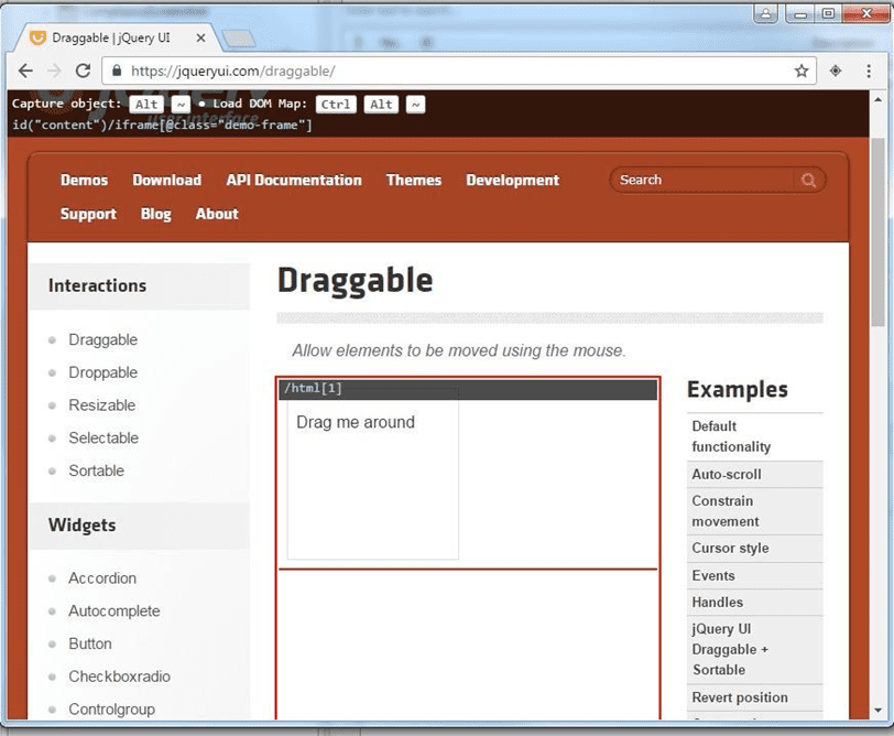 JQueryUI's Drag and Drop iframe area selection