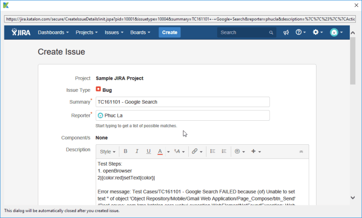 JIRA native submission form