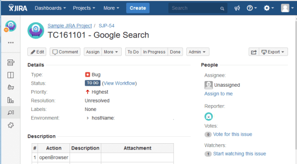 JIRA issues page