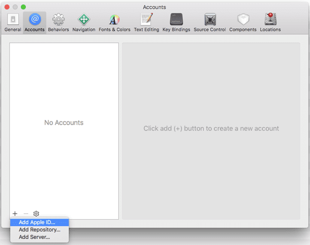 Add-acocunt-in-Xcode