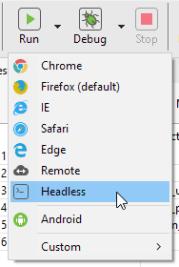 Headless option in Katalon Studio