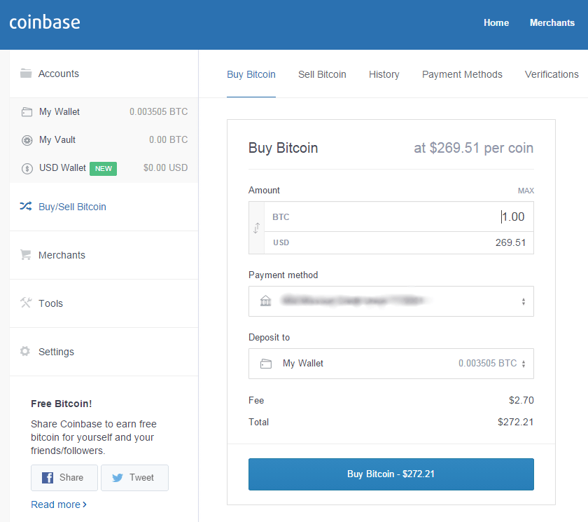 Buy Bitcoin - Coinbase