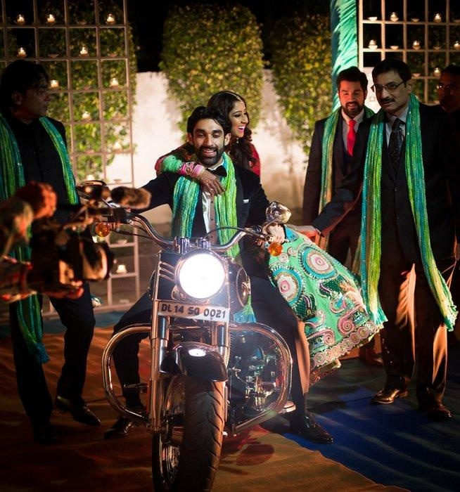 bridal entry on a bike with brother