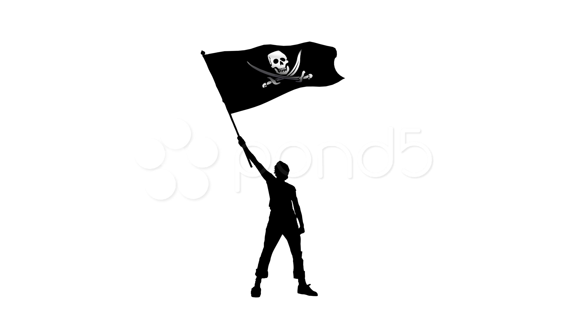 Man Holding A Waving Pirate Flag Stock Video