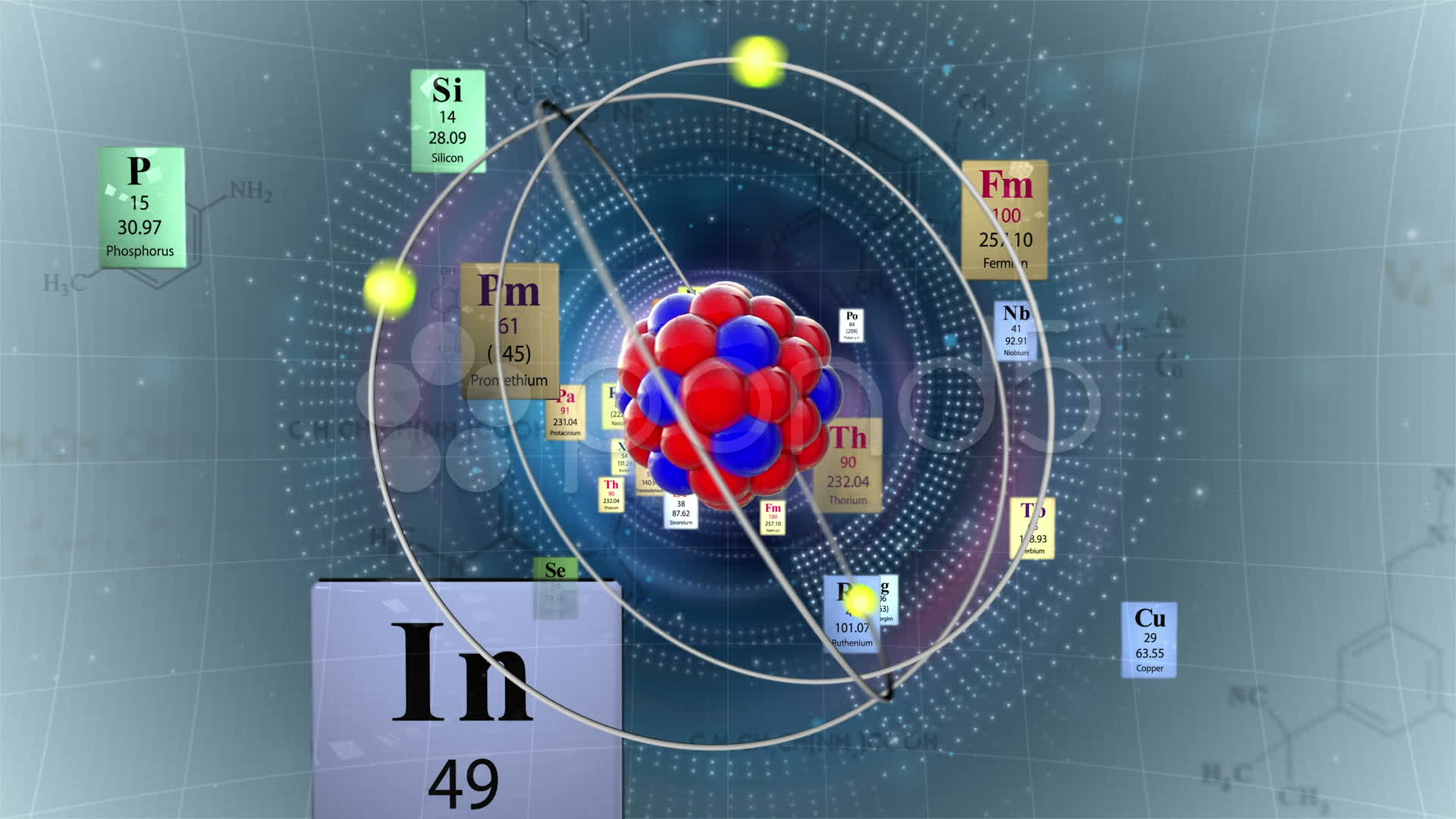 Scientific Background Atom Model With Elements Of