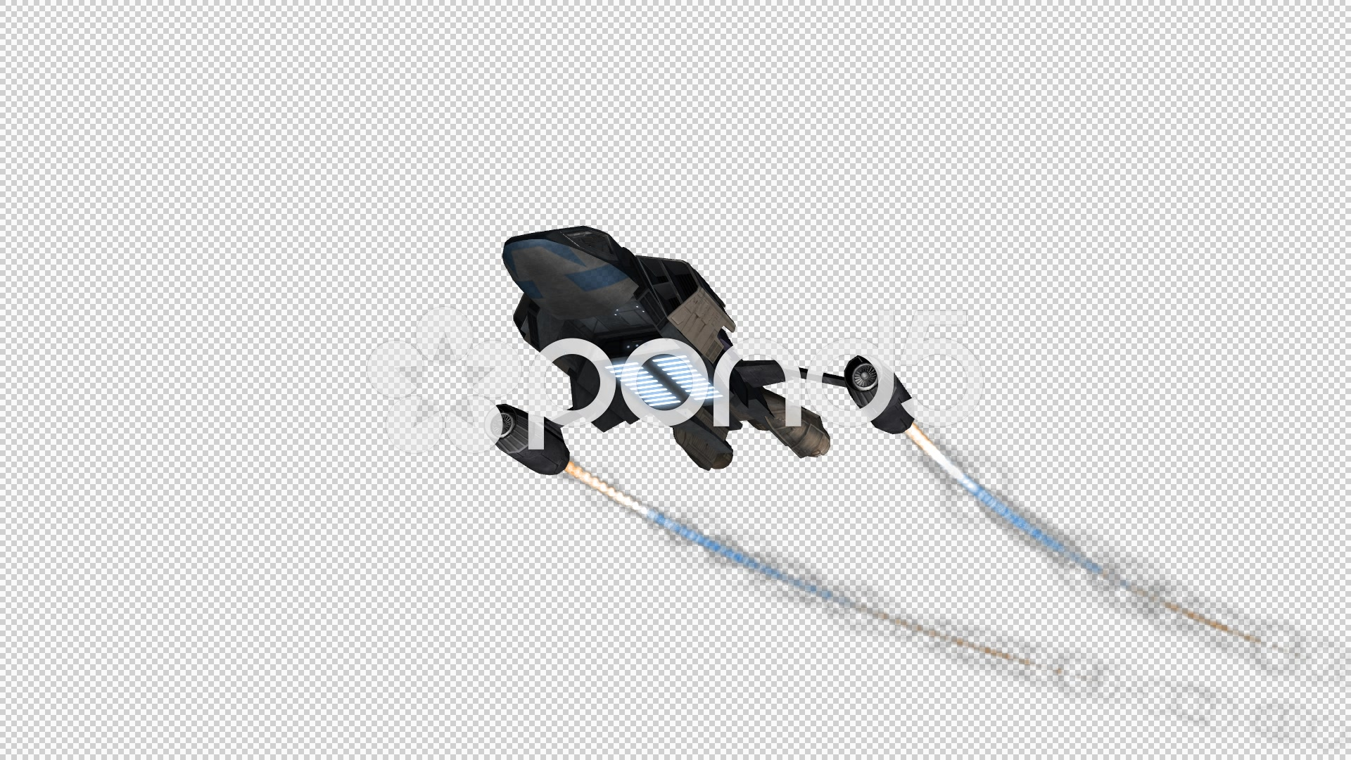 Spacefighter Spaceship flyby on transparent background