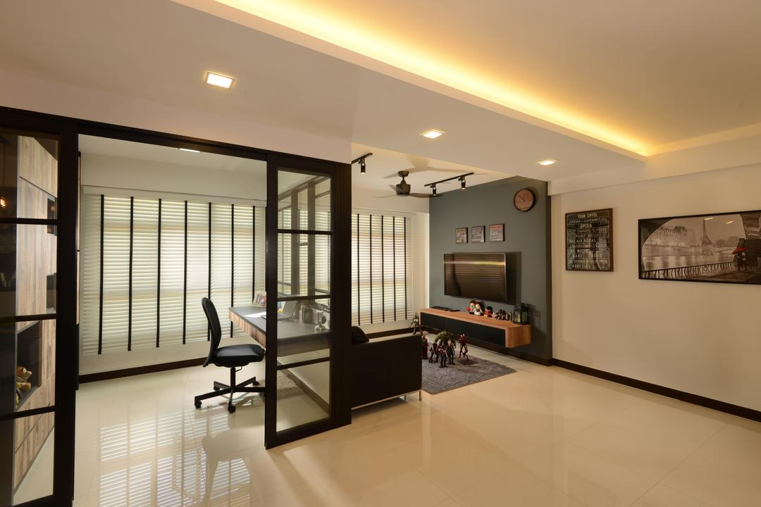 study desk and chair coaster l shaped computer room | interior design singapore ideas