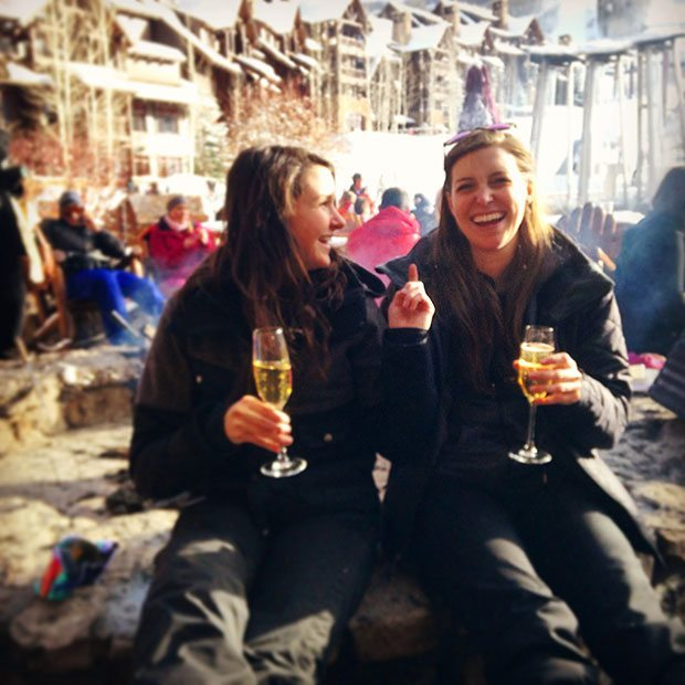Toasting Champagne to a great day of Skiing in Beaver Creek - Ritz Carlton Bachelors Gultch