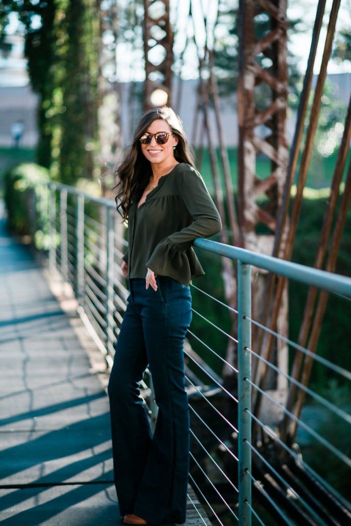 Green Bell Sleeve Shirt, Dark Flares Jeans and Rebecca Minkoff Bag