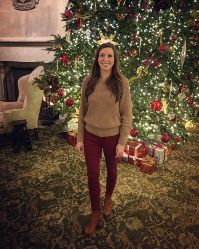Holiday Look - Red Pants and Camel Sweaters