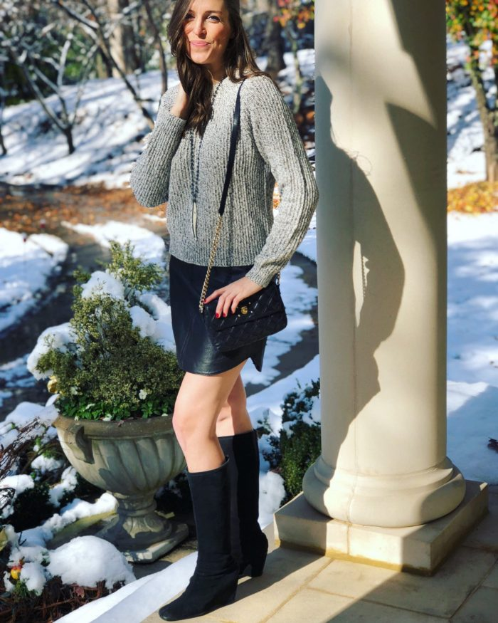 Leather Skirt with Gray Sweater and Black Wedge Boots