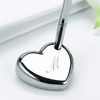 Engraved Heart Shaped Wedding Pen Set