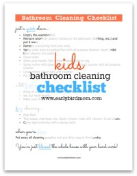 Free Kids Bathroom Cleaning Checklist Printable - 24/7 Moms