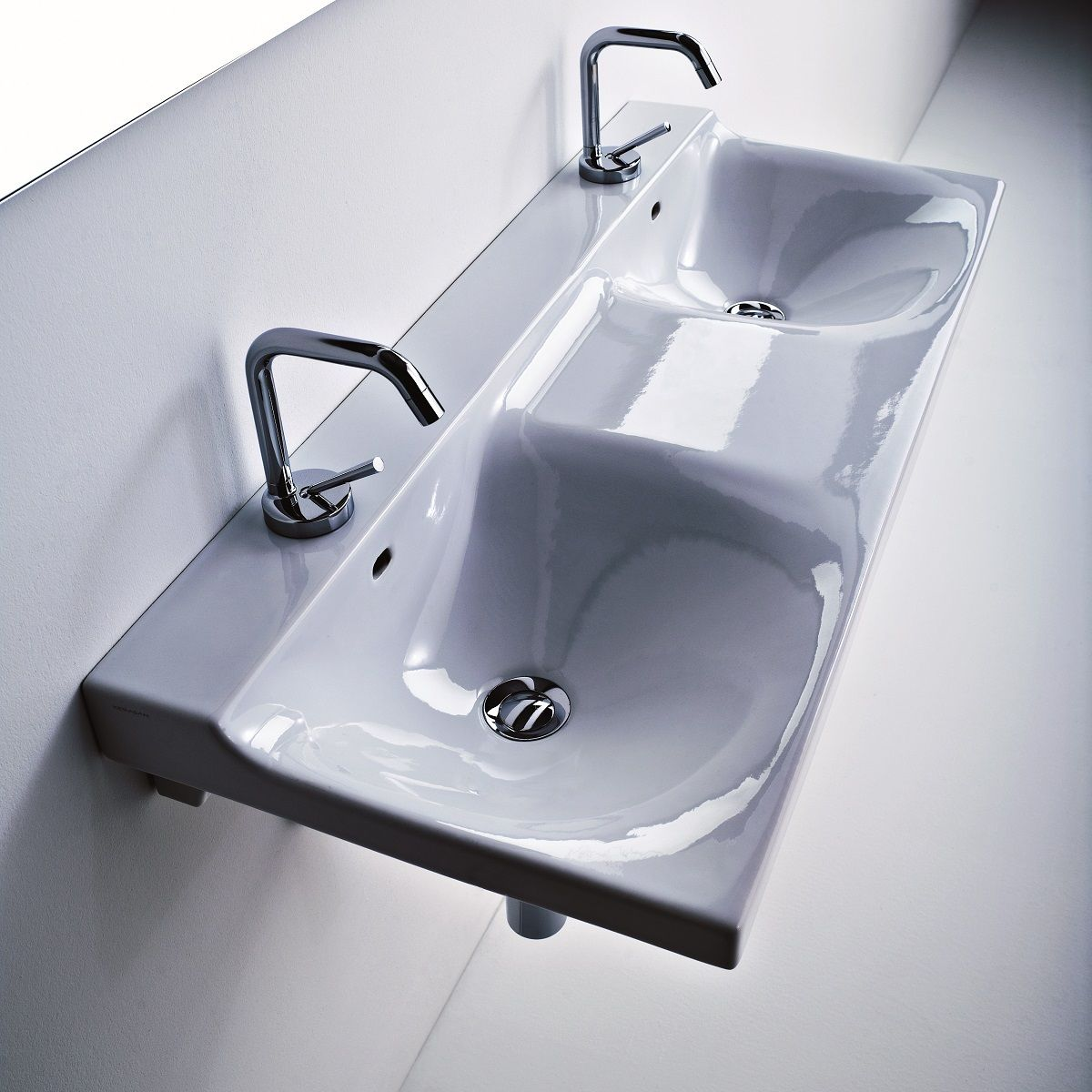 ws bath collections buddy 3404 double wall mounted bathroom sink 39 4 x 16 5