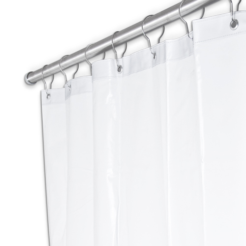 white fabric shower curtain 54 x 72