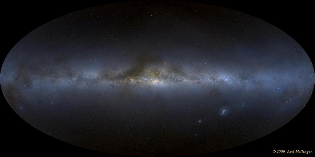 Un mosaico de todo el cielo digitales de nuestra visión de la Vía Láctea desde la Tierra, montado a partir de más de 3.000 marcos CCD individuales.  Crédito: Axel Mellinger.  Haga clic en la imagen para ver un panorama ampliable.