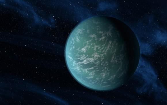 """Concepto de """"Super-Tierra"""" exoplaneta Kepler-22b, que está a unos 2,4 veces más grande que la Tierra del artista.  Crédito: NASA."""