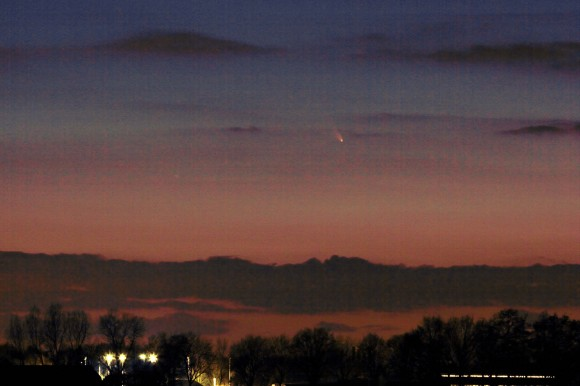 Comet Pan-STARRS thrills Dutch observers of the Night Sky on March 14, 2013 shortly after sunset - note the rich hues.  Shot with a Canon 60D camera and Canon 100/400 mm lens, exposure time 15 seconds, ISO 300   Credit: Rob van Mackelenbergh