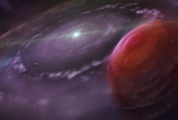 Artist's rendering of HR 8799c at an early stage in the evolution of the planetary system, showing the planet, a disk of gas and dust, rocky inner planets, and HR 8799. Credit: Dunlap Institute for Astronomy & Astrophysics