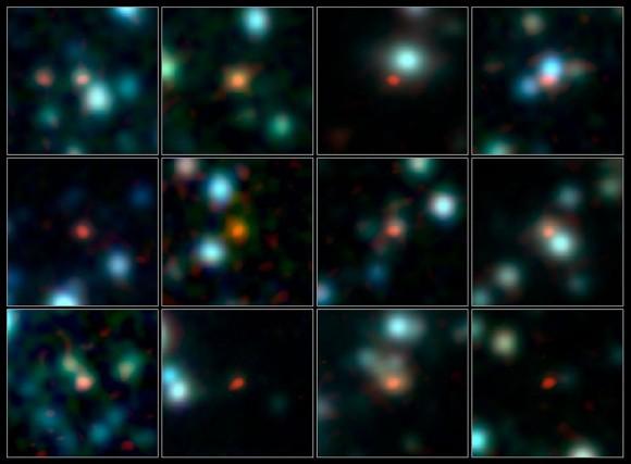Un equipo de astrónomos ha utilizado ALMA (el Gran Conjunto Milimétrico / submilimétrico de Atacama) para identificar la ubicación de más de 100 de los más fértiles de las galaxias de formación estelar en el Universo temprano.  Crédito :: ALMA (ESO / NAOJ / NRAO), J. Hodge et al., A. Weiss et al., NASA Spitzer Science Center