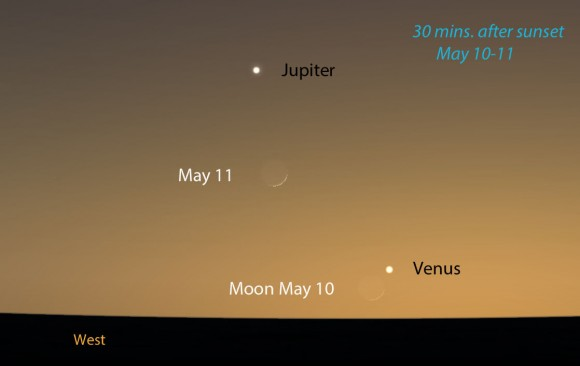 A partir del viernes la luna será su guía de retorno de Venus en el cielo de la tarde.  Este mapa muestra el cielo hacia el oeste-noroeste a unos 30 minutos después de la puesta del sol a través del centro de los EE.UU., pero es útil 30-50 grados al norte.  Venus estará 4 grados de alta en el momento.  Luna del viernes es muy delgada!  Stellarium