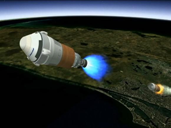 El concepto del artista muestra CST-100 nave espacial de Boeing separación de la primera etapa de su vehículo de lanzamiento, un United Launch Alliance cohete Atlas V, después del despegue desde Cabo Cañaveral en Florida.  Crédito: Boeing