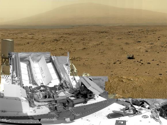 """Esta es una recortada, versión reducida del panorama de Marte rover Curiosity de la NASA, con 1,3 millones de píxeles de la versión de resolución completa Ir al panorama continuación.  Demuestra curiosidad en el sitio """"Rocknest"""", donde el rover recogió muestras de polvo transportado por el viento y la arena.  Curiosity utiliza tres cámaras para tomar las imágenes de componentes en varios días diferentes entre 05 de octubre y 16 de noviembre 2012.  Los espectadores podrán explorar esta imagen con los controles de panorámica y zoom en http://mars.nasa.gov/bp1/.  Crédito: NASA / JPL-Caltech / MSSS"""