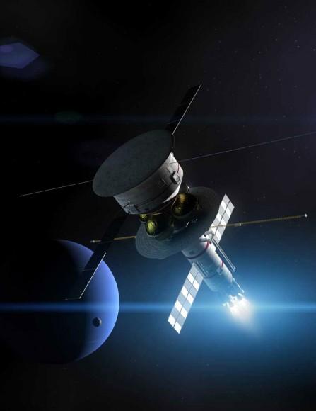 The Icarus Pathfinder starship paso por Neptuno.  Crédito: Adrian Mann