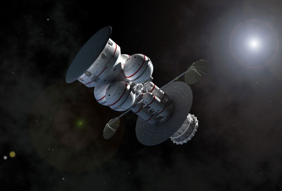 The Icarus Starfinder, muestra dejando el sistema solar.  Buques como esta pueden ser equipados con un sistema de navegación pulsar.  Crédito: Adrian Mann